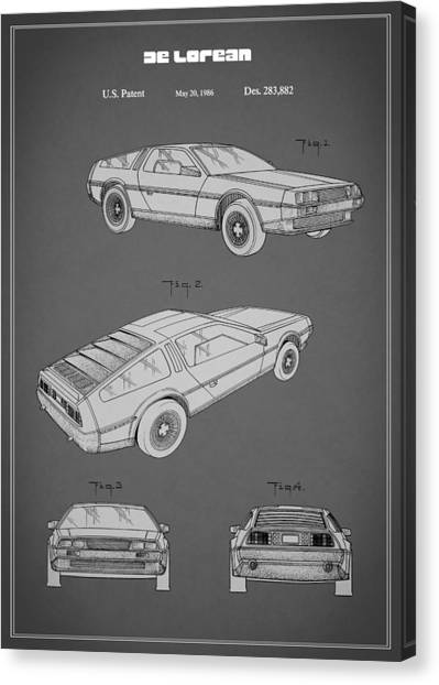 Back To The Future Canvas Print - De Lorean Patent 1986 by Mark Rogan
