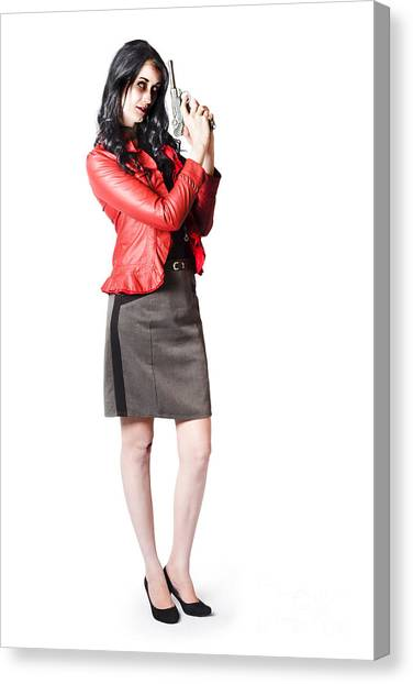 Canvas Print featuring the photograph Dead Female Secret Agent Holding Hand Gun by Jorgo Photography - Wall Art Gallery