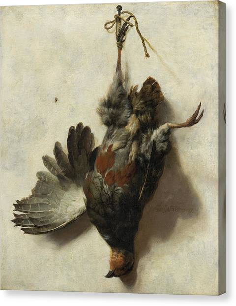Carcass Canvas Print - Dead Partridge Hanging From A Nail by Jan Baptist Weenix