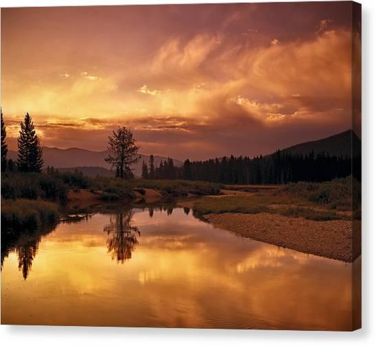 Boise National Forest Canvas Print - Deadwood River Sunrise by Leland D Howard