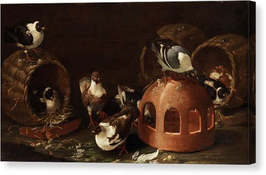 Meadowlarks Canvas Print - Deaf Between Feed Trough And Baskets by Giovanni Agostino Cassana