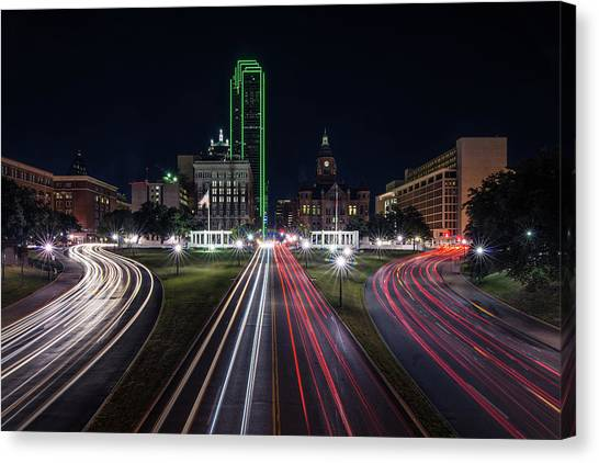 Dealey Plaza Dallas At Night Canvas Print