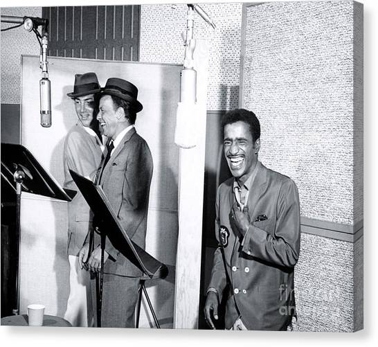 Frank Sinatra Canvas Print - Dean Martin, Frank Sinatra And Sammy Davis Jr. At Capitol Records Studios by The Titanic Project