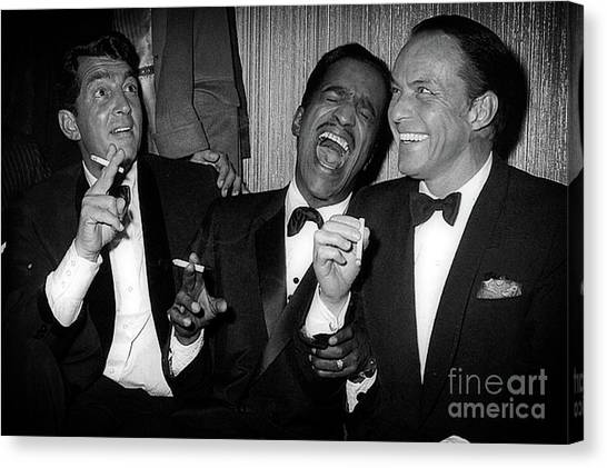 Dean Martin, Sammy Davis Jr. And Frank Sinatra Laughing Canvas Print