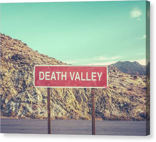 Death Canvas Print - Death Valley Sign by Mr Doomits