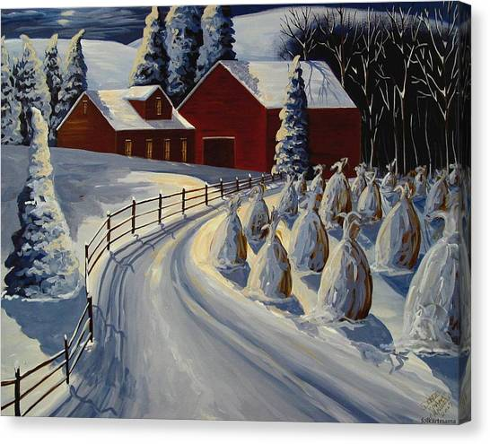 Folk Art Canvas Print - December Eve - A Folkartmama Original - Folk Art by Debbie Criswell