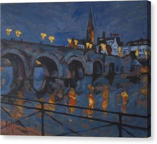 Briex Canvas Print - December Lights Old Bridge Maastricht Acryl by Nop Briex