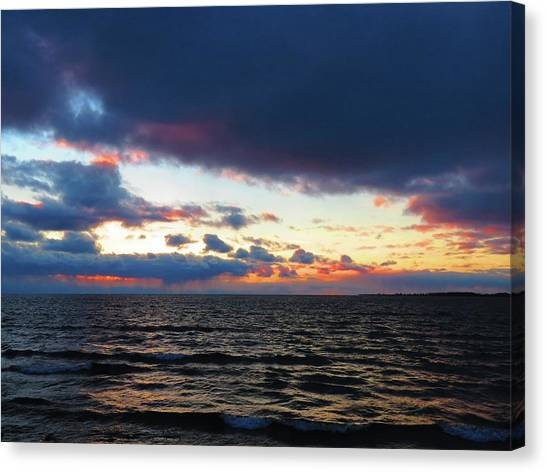 December Sunset, Wolfe Island, Ca. View From Tibbetts Point Lighthouse Canvas Print