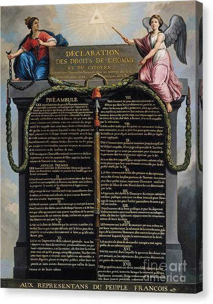 Citizen Canvas Print - Declaration Of The Rights Of Man And Citizen by French School