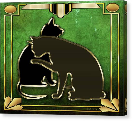 Deco Cats - Emerald Canvas Print