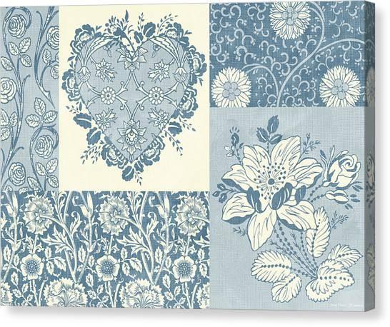 Carpet Canvas Print - Deco Heart Blue by JQ Licensing
