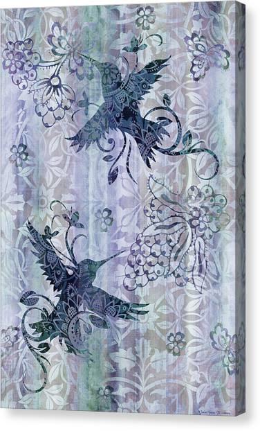 Small Birds Canvas Print - Deco Hummingbird Blue by JQ Licensing