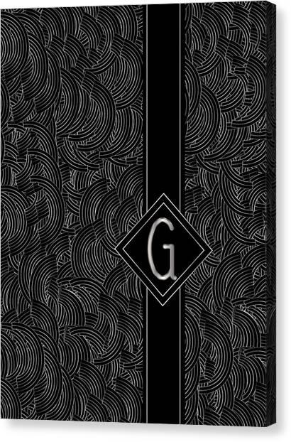 Deco Jazz Swing Monogram ...letter G Canvas Print