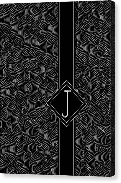 Deco Jazz Swing Monogram ...letter J Canvas Print