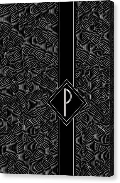 Deco Jazz Swing Monogram ...letter P Canvas Print