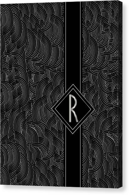 Deco Jazz Swing Monogram ...letter R Canvas Print