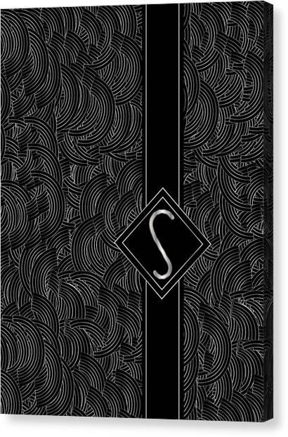 Deco Jazz Swing Monogram ...letter S Canvas Print