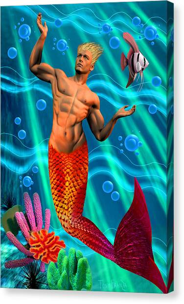 Deco Merman 2 Canvas Print
