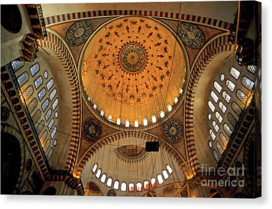 Decorated Dome And Windows Inside The Suleymaniye Mosque In Istanbul Canvas Print by Sami Sarkis