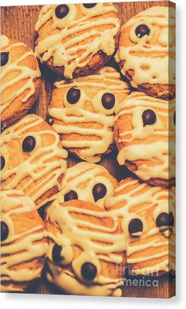 Biscuits Canvas Print - Decorated Shortbread Mummy Cookies by Jorgo Photography - Wall Art Gallery