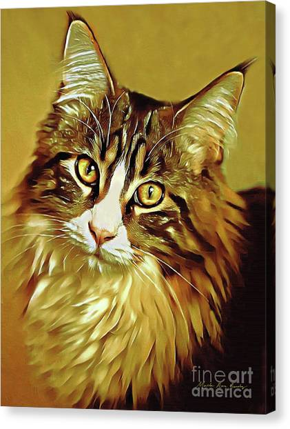 Canvas Print featuring the digital art Decorative Digital Painting Maine Coon A71518 by Mas Art Studio