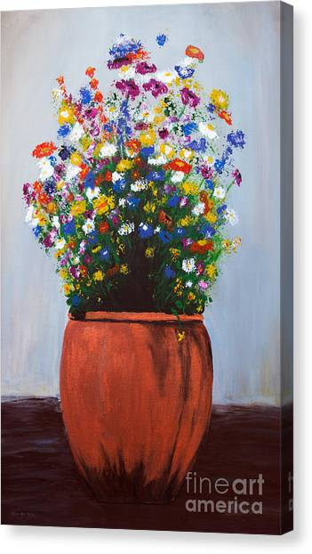 Canvas Print featuring the painting Impressionist Wildflower Garden Painting A103017 by Mas Art Studio
