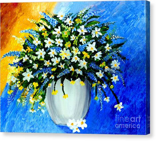 Canvas Print featuring the painting Decorative Floral Acrylic Painting G62017 by Mas Art Studio