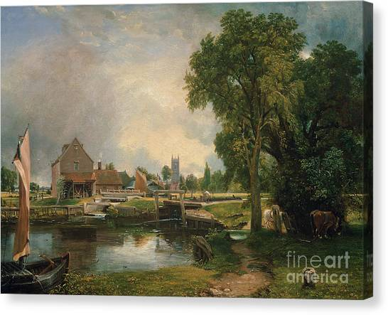 Mills Canvas Print - Dedham Lock And Mill by John Constable