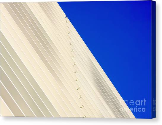 Deep Blue Sky And Office Building Wall Canvas Print
