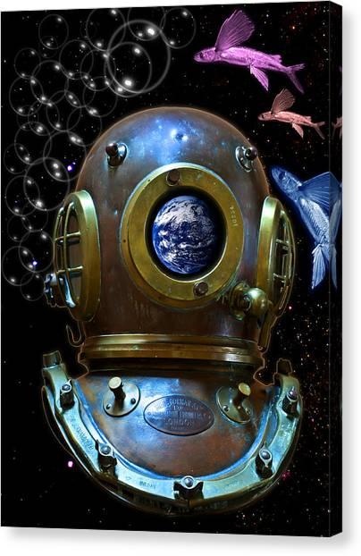 Deep Diver In Delirium Of Blue Dreams Canvas Print