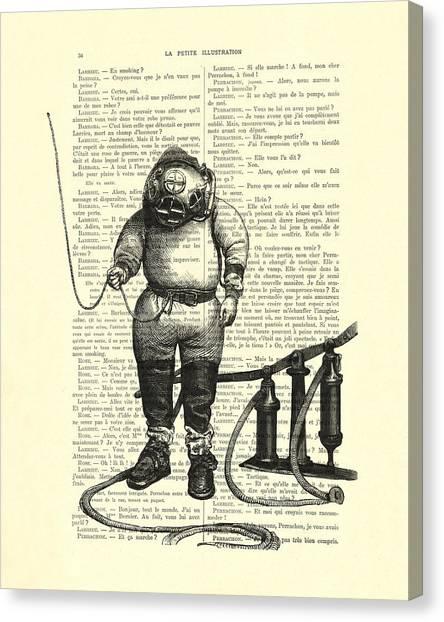 Patent Canvas Print - Deep Sea Diver by Madame Memento