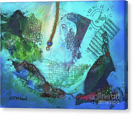 Canvas Print featuring the painting Deep Sea Life by TM Gand