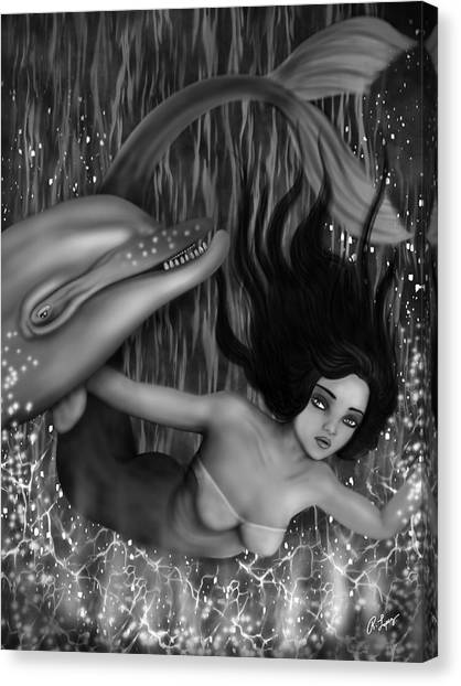 Deep Sea Mermaid - Black And White Fantasy Art Canvas Print