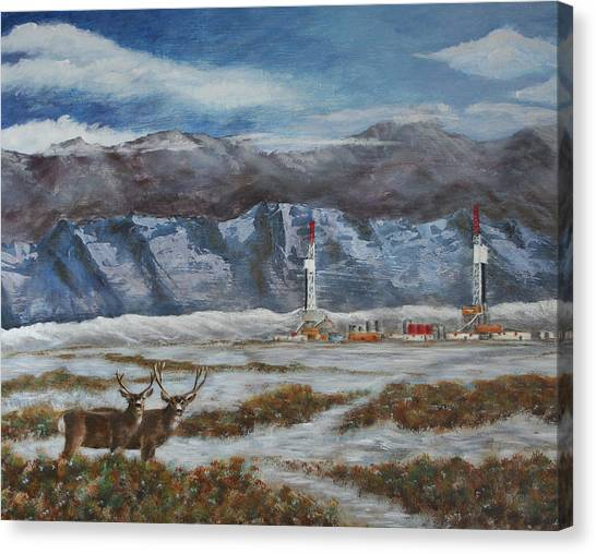 Deer And Drilling Rig Canvas Print by Karen Peterson