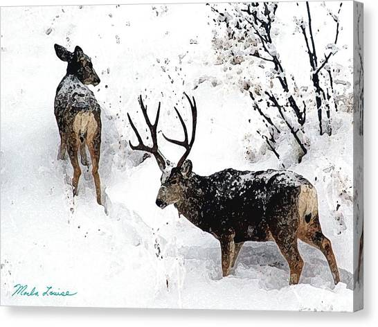 Deer And Snow 1 Canvas Print by Marla Louise