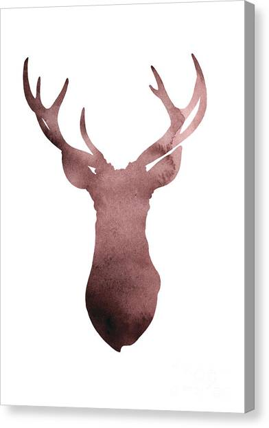 Largemouth Bass Canvas Print - Deer Antlers Silhouette Minimalist Painting by Joanna Szmerdt