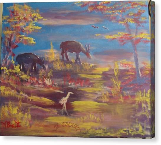 Deer At Dust Canvas Print by M Bhatt