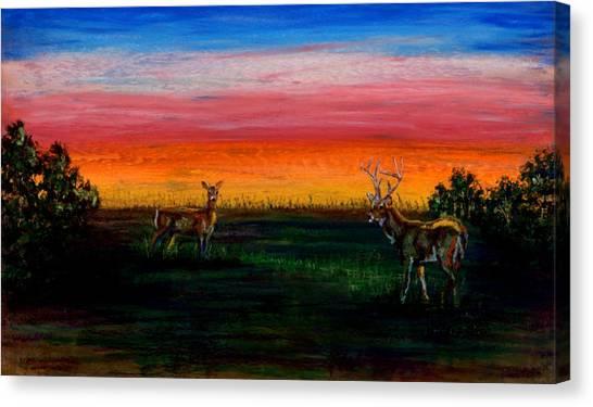 Deer Dawn Canvas Print
