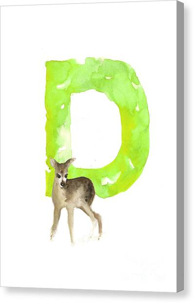 Deer Canvas Print - Deer Figurine Watercolor Poster by Joanna Szmerdt