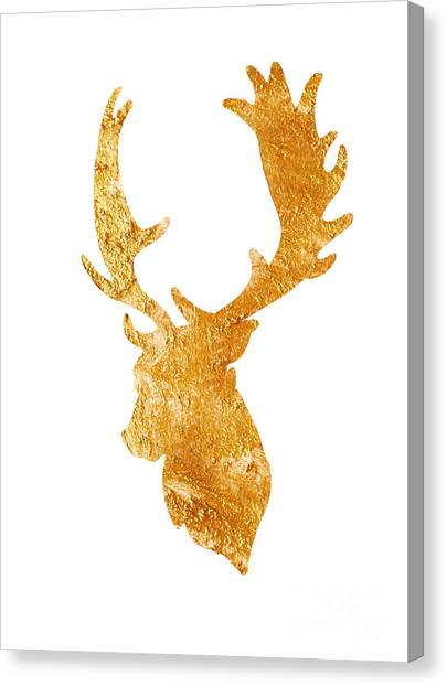 Gold Canvas Print - Deer Head Silhouette Drawing by Joanna Szmerdt