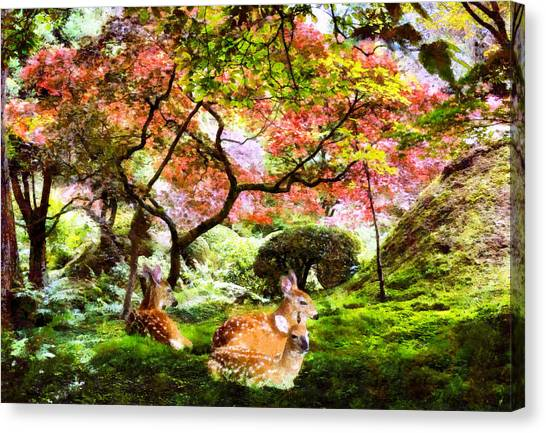 Deer Relaxing In A Meadow Canvas Print