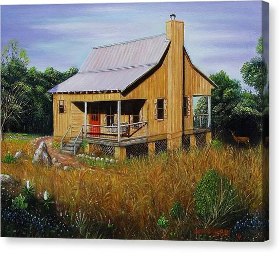 Deer Run Cabin Canvas Print