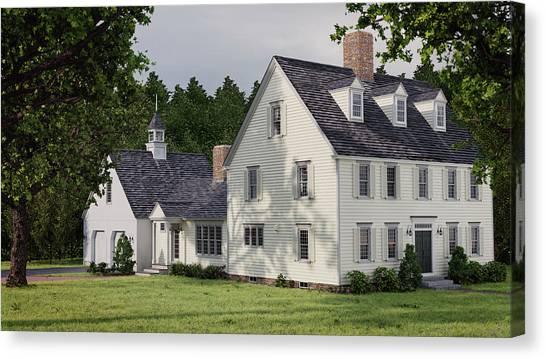 Deerfield Colonial House Canvas Print