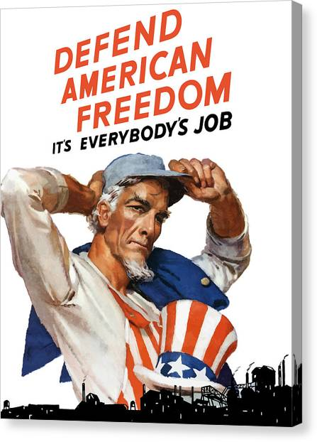 American Flag Canvas Print - Defend American Freedom It's Everybody's Job by War Is Hell Store