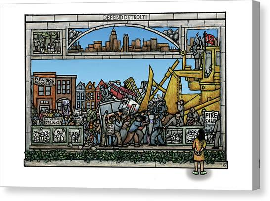Defend Detroit Canvas Print by Ricardo Levins Morales