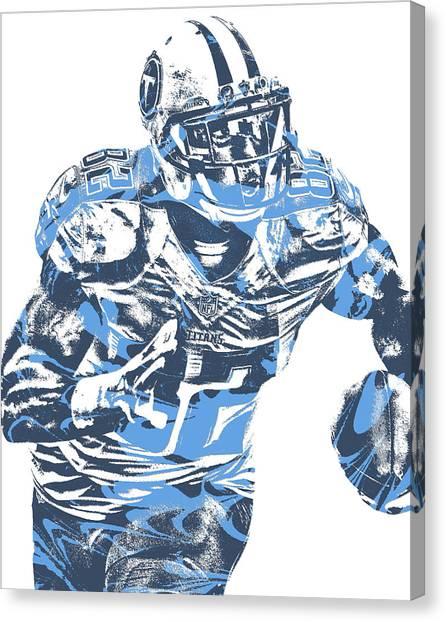 Tennessee Titans Canvas Print - Delanie Walker Tennessee Titans Pixel Art 12 by Joe Hamilton