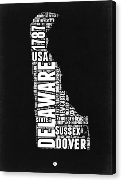 Delaware Canvas Print - Delaware Black And White Map by Naxart Studio