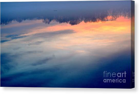 Delaware River Abstract Reflections Foggy Sunrise Nature Art Canvas Print
