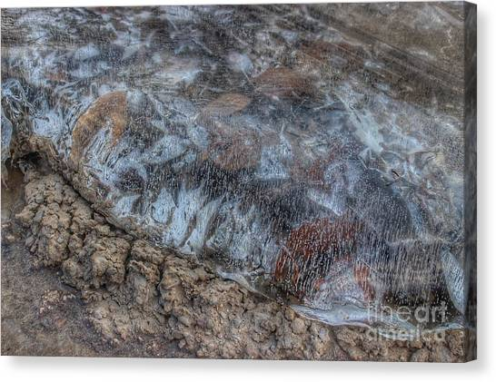 Delaware River Ice With Leaves Canvas Print
