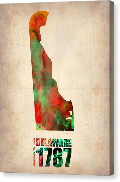 Delaware Canvas Print - Delaware Watercolor Map by Naxart Studio